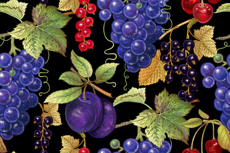 Seamless botanical pattern with grapes, plum, red and black currant, cherry on black background. Vintage. Victorian style. Vector illustration. For kitchen design, food packaging, paper, interior. 向量圖像