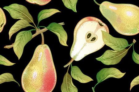 Naadloos patroon met peren. Realistische vector illustratie fabriek. Hand tekenen met kleurpotloden. Fruit, blad, tak van de boom op zwarte achtergrond. Voor keukenontwerp, voedselverpakking. Wijnoogst.