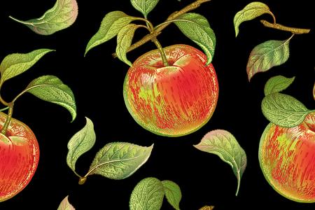 Patrones sin fisuras con manzanas rojas. Planta de ilustración vectorial realista. Dibujo a mano con lápices de colores. Fruta, hoja, rama de árbol sobre fondo negro. Para el diseño de cocinas, envasado de alimentos. Clásico. Ilustración de vector