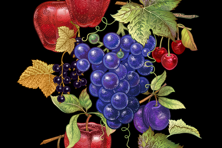 Seamless pattern with fruits apple, grape, cherry, plum, black currant on black background.  Realistic vector illustration plant. Hand drawing. Decoration for kitchen design, food packaging. Vintage.