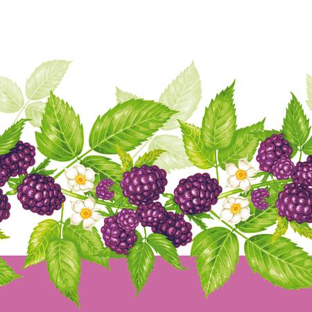 ベクターのシームレスな背景。果実と花を持つブラックベリーの枝。生地、織物、紙、壁紙、web のデザイン。ヴィンテージ。