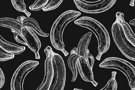 textile image: Bananas isolated white chalk on black board. Seamless pattern. Realistic fruits in the technique of vintage engraving. Black and white. Vector illustration art. Hand drawing. Kitchen design with food