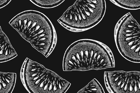 Slices of watermelon white chalk on black board. Seamless pattern. Realistic fruits in technique of vintage engraving. Black and white. Vector illustration art. Hand drawing. Kitchen design with food.