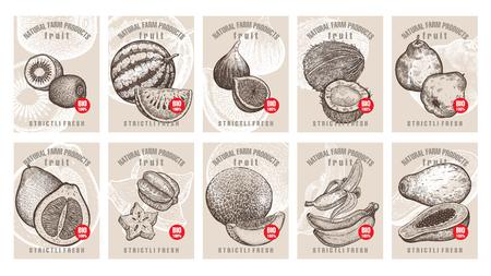 様々 なフルーツ、ベリー、銘刻文字とラベル。テンプレート ショップ有機ベジタリアン食品の市場価格タグを設定します。ベクトル イラスト。ヴ  イラスト・ベクター素材