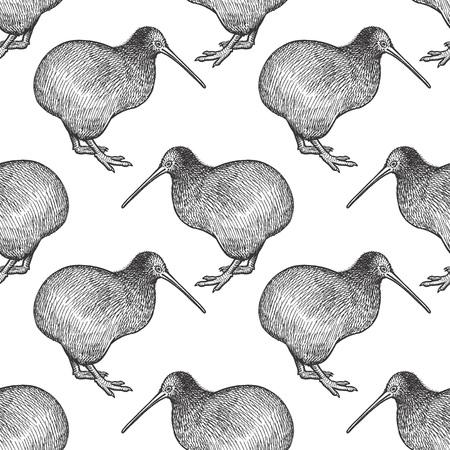 キウイ鳥。オーストラリアの動物とのシームレスなパターン。野生動物の手書き。ベクトル イラスト。黒と白。布、紙、テキスタイル、ファッショ  イラスト・ベクター素材