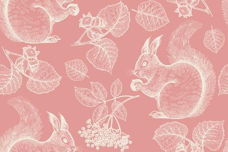 Bosdieren en planten naadloos patroon. Eekhoorn, noten, bladeren en bessen. Handtekening. Rood en wit. Vintage gravure achtergrond. Vector illustratie kunst. Voor designpapier, behangpapier, textiel Stock Illustratie