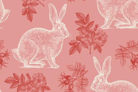 Bosdieren en planten naadloos patroon. Hazen en bloemen van rozenbottels. Handtekening. Rood en wit. Vintage gravure. Vector illustratie kunst. Voor het ontwerpen van papier, behang, textiel.