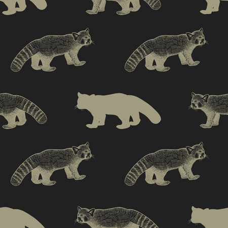 Panda. Seamless pattern with drawing animals and silhouettes. Hand graphic of wildlife. Vector illustration art. Black and gold. Old engraving. Vintage. Design for fabrics, paper, textiles, fashion Illustration