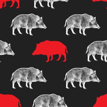 イノシシ描画動物やシルエットを使ってシームレスなパターン。野生動物の手のグラフィック。ベクトル イラスト。赤、黒、白。古い彫刻。ヴィン