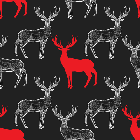 Deer Seamless pattern with drawing animals and silhouettes. Hand graphic of wildlife. Vector illustration art. Red, black, white. Old engraving. Vintage. Design for fabrics, paper, textiles, fashion