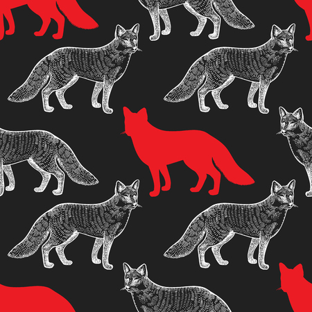 Fox Seamless pattern with drawing animals and silhouettes. Hand graphic of wildlife. Vector illustration art. Red, black, white. Old engraving. Vintage. Design for fabrics, paper, textiles, fashion