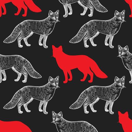 Vos Naadloos patroon met tekeningsdieren en silhouetten. Handafbeelding van dieren in het wild. Vector illustratie kunst. Rood, zwart, wit. Oude gravure Wijnoogst. Ontwerp voor stoffen, papier, textiel, mode Stock Illustratie