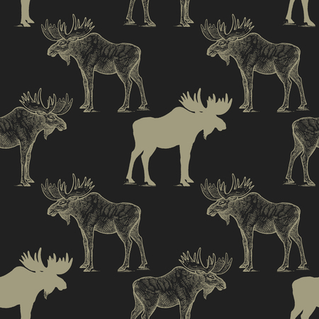 Elk Seamless pattern with drawing animals and silhouettes. Hand graphic of wildlife. Vector illustration art. Black and gold. Old engraving. Vintage. Design for fabrics, paper, textiles, fashion