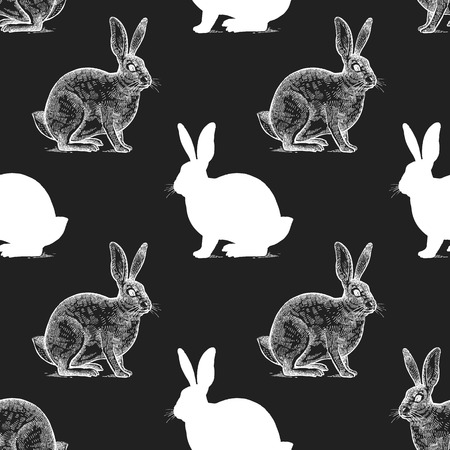 Hare Seamless pattern with drawing animals and silhouettes. Hand graphic of wildlife. Vector illustration art. Black and white. Old engraving. Vintage. Design for fabrics, paper, textiles, fashion