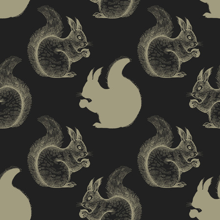 Squirrel Seamless pattern with drawing animals and silhouettes. Hand graphic of wildlife. Vector illustration art. Black and gold. Old engraving. Vintage. Design for fabrics, paper, textiles, fashion Ilustracja