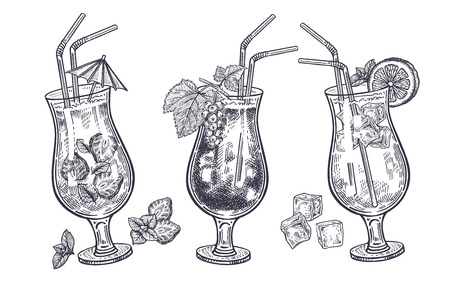 Alcoholic cocktails set. Drinks in cocktail glasses isolated on white background. Handmade sketch of beverage.