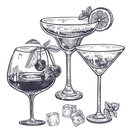 アルコール飲料を設定します。マルガリータ、ブランデーやワイングラス、氷、チェリー、ミント、レモンのお酒。白い背景上に分離。  イラスト・ベクター素材