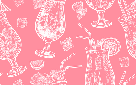 Seamless vector pattern of wine drinking. Bottles, grapes, glasses with white and red wine, ice, mint, corkscrew on a pink background.