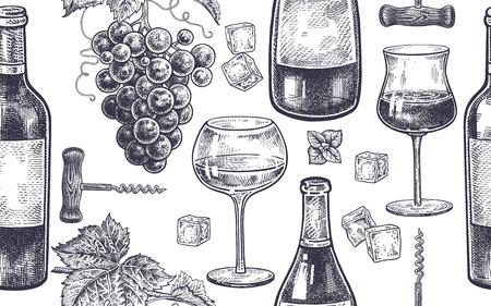 ワインを飲むのシームレス パターン。ボトル、グラス白・赤ワイン、氷、ミント、ブドウの果実がらせん状します。