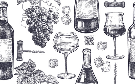 Seamless vector pattern of wine drinking. Bottles, berries of grapes, glasses with white and red wine, ice, mint, corkscrew.