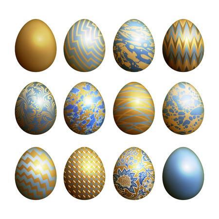 Easter eggs set. Realistic image isolated on white background. Flower, geometric and marble patterns. Blue, gold foil and white color. Vector illustration art.