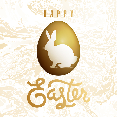 Easter card with realistic Easter egg and inscription Happy Easter. Marble pattern and easter bunny silhouette. Gold foil and white color. Vector illustration art. Festive design.