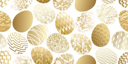 Easter eggs seamless pattern. Flower, geometric and marble patterns. Festive design. Gold foil and white. Vector illustration art.