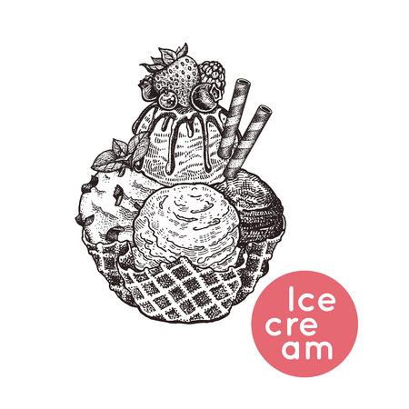 アイスクリームベリー、ウエハ、クッキーのデザート。白い背景に分離された甘さのイメージ。白黒ヴィンテージ彫刻。ベクトルイラスト。カフェ  イラスト・ベクター素材