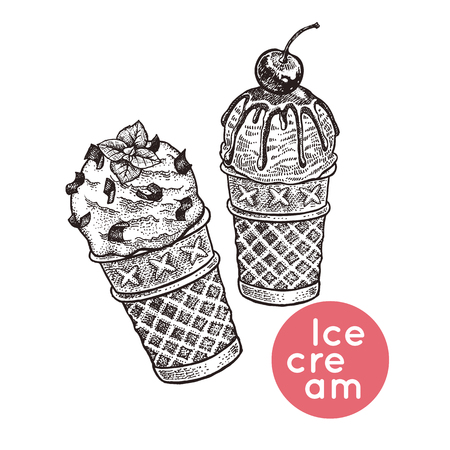 Waffle cones with ice cream. Isolated dessert with pieces of chocolate, icing, cherry berry. Black, white. Vintage engraving. Vector illustration. Realistic hand drawing for menu of cafes, restaurants