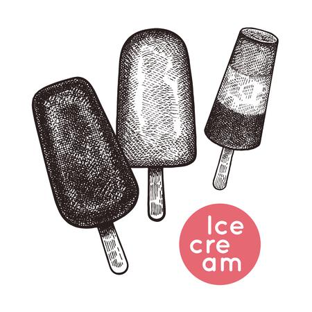 O lolly de gelo e o gelado no chocolate e na cereja ajustaram-se. Sobremesas isoladas no fundo branco. Preto e branco. Gravura vintage. Ilustração vetorial Mão realista de desenho para o menu do café; restaurante Foto de archivo - 93445089