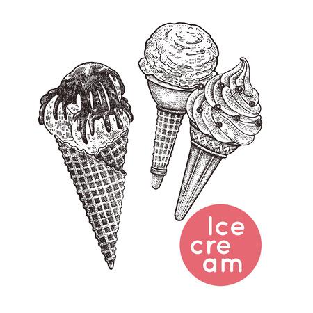 ワッフルコーンとアイスクリームセット。チョコレートとアイシングの断片と分離されたデザート。白黒ヴィンテージ彫刻。ベクトルイラスト。カ