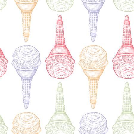 アイスクリーム。お菓子とシームレスなパターン。白い背景にパステルカラーのデザート。ベクトルイラストアート。ヴィンテージ彫刻。手描き。  イラスト・ベクター素材