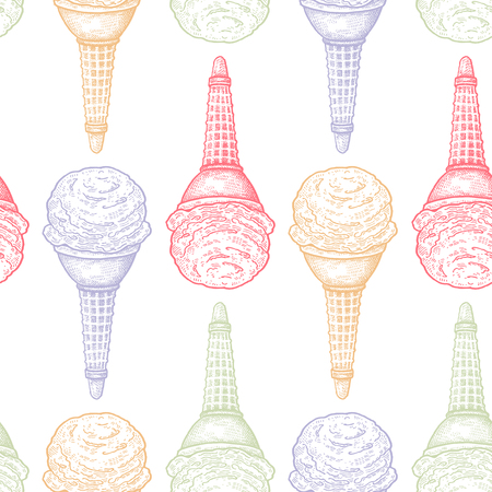 Ice cream. Seamless pattern with sweets. Pastel color dessert on white background. Vector illustration art. Vintage engraving. Hand drawing. Template for kitchen design, textiles, paper, wallpaper.