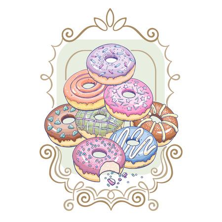 Donuts mit einem gemusterten Rahmen. Dekoration zum Bedrucken von T-Shirts, Kleidung, Küche, Speisekarten, Cafés, Süßwaren. Flache Vektorillustration Kunst. Entwerfen Sie mit Gebäckschaumgummiringen auf weißem Hintergrund.