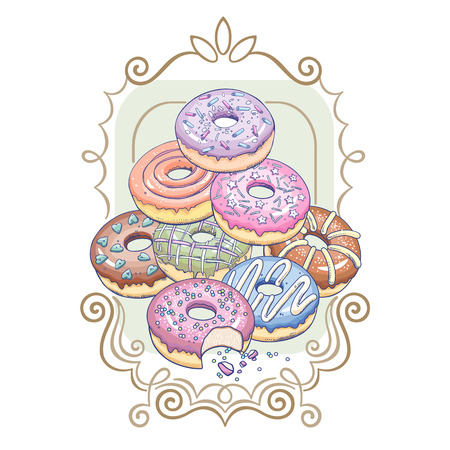 Donuts with a patterned frame. Decoration for printing on T-shirts, clothes, kitchen, menus, cafes, confectioneries. Flat vector illustration art. Design with pastry doughnuts on white background. Ilustração