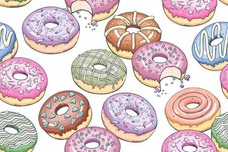 Donuts naadloos patroon. Keukenontwerp met voedsel, banketbakkerij. Multicolored donuts op witte achtergrond. Sjabloon voor inpakpapier, stof, menu cover, café uithangbord. Vector illustratie kunst.