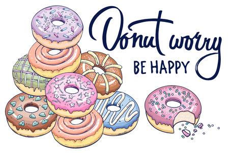 """Donuts und Inschrift """"Donut Sorge sei glücklich"""" auf weißem Grund. Entwerfen Sie für T-Shirts, Küchendesign, Abdeckungen, Menüs, Cafézeichen. Flache Vektorillustration Kunst."""