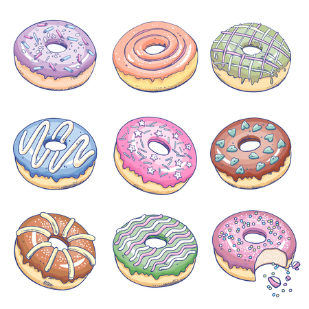 Donuts set. Confectionery products isolated on white background. Flat vector illustration art. A template with a picture of food to create a kitchen design, wrapping paper, fabric, menus, recipes.