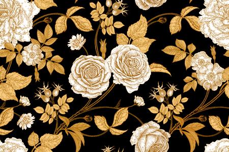 Róże, kwiaty, liście, gałęzie i jagody dzikiej róży. Kwiatowy wzór bez szwu. Złoty, lacek i biały. Styl orientalny. Sztuka ilustracji wektorowych. Do projektowania tekstyliów, papieru, tapet.