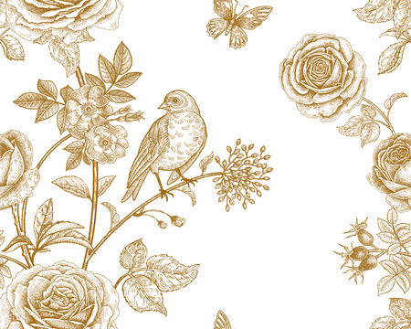 Garden flowers roses, peonies and dog rose, bird and butterflies. Floral vintage seamless pattern. Gold and white. Victorian style. Vector illustration. Template for luxury textiles, paper, wallpaper.