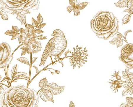 Tuin bloeit rozen, pioenrozen en hondenroos, vogels en vlinders. Bloemen uitstekend naadloos patroon. Goud en wit. Victoriaanse stijl. Vector illustratie Sjabloon voor luxe textiel, papier, behang.