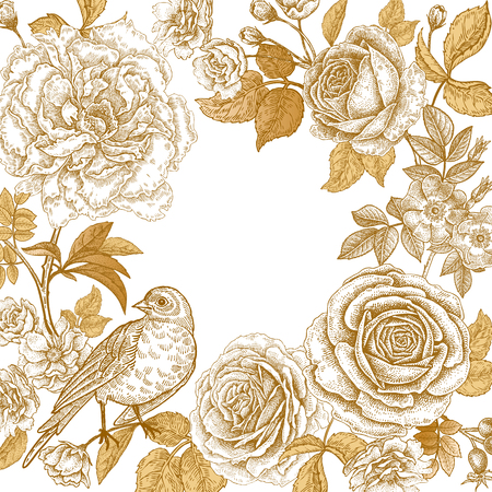 花と鳥とヴィンテージフレーム。白い背景に金色の箔を印刷します。オリエンタルスタイルのバラとピオニ。結婚式やお祝いの挨拶や招待状のため