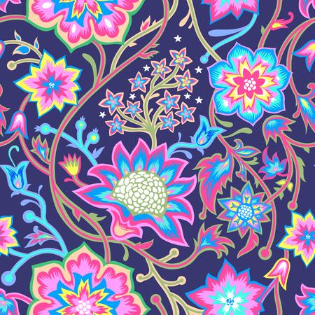 シームレスなヴィンテージの背景。テキスタイルデザインのベクトル背景。壁紙、背景、ウェブデザイン。花柄。