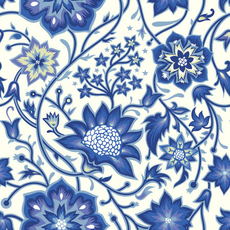 Nahtloser Weinlesehintergrund. Vektor Hintergrund für Textildesign. Tapete, Hintergrund, Webdesign. Blumenmuster. Vektorgrafik