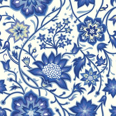 Sem costura fundo vintage. De fundo Vector para o design têxtil. Papel de parede, plano de fundo, web design. Estampa floral. Ilustración de vector