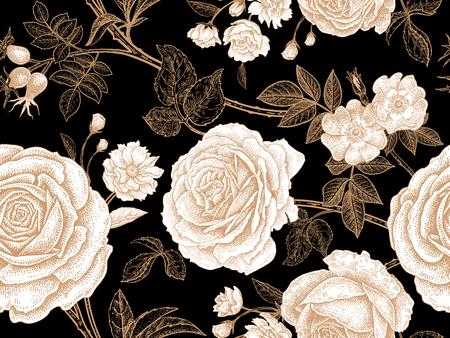 Garden roses. Floral vintage seamless pattern. White flowers, gold leaves, branches and berries on black background.