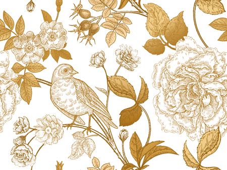 Garden flowers roses, peonies and dog rose, bird on branches . Floral vintage seamless pattern. Gold and white.