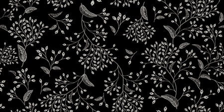 White branches and berries on black background vintage pattern design Vectores