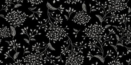Weiße Zweige und Beeren auf schwarzem Hintergrund Vintage Design-Muster Standard-Bild - 96053974
