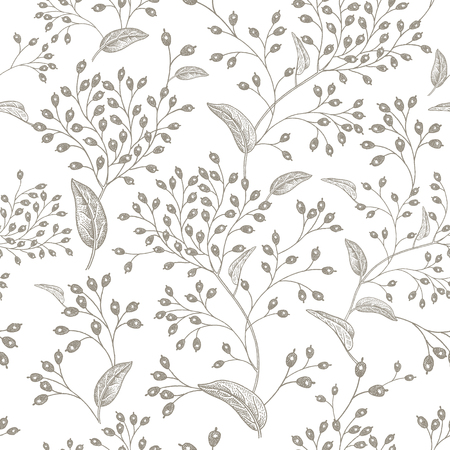 Black branches and berries on white background vintage pattern design Vettoriali